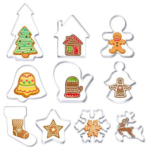 MELLIEX 10 Pezzi Formine Biscotti Natale, 3D Formine per Biscotti in Acciaio Inox, Tagliapasta per Biscotti Bakeware Fondente Torta Paletta
