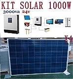 Kit solare fotovoltaico, 4 pannelli da 250 W, 1000W all'ora, 5000W al giorno, 24V, inverter da 3kVA (2400W), regolatore 50A, caricatore 30A