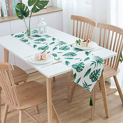 European Modern Cotton Linen Catering Coffee Table Tapestry Cloth and Tassels green1 33x180cm