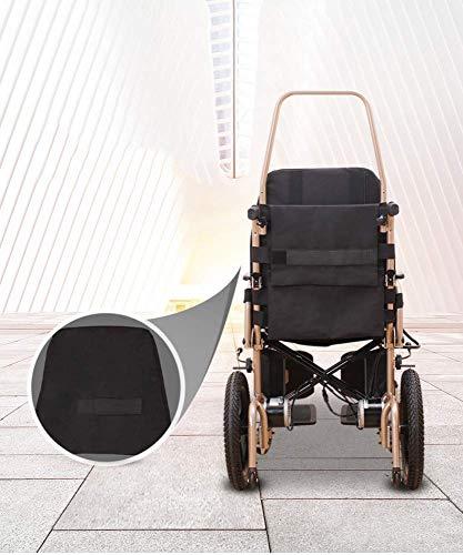 TYZXR Silla de ruedas portátil con mejor calificación exclusiva, ligera, plegable, resistente, reposacabezas ajustable y batería de iones de litio de polímero, amarillo, respaldo alto ajustable