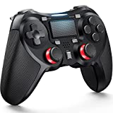 TERIOS Mando Inalámbrico Compatible con Juegos de Plays 4, Mando para PS-4 Pro, Slim, Altavoz Incorporado y Conector para Auriculares Estéreo, Pad Multitáctil (Negro)