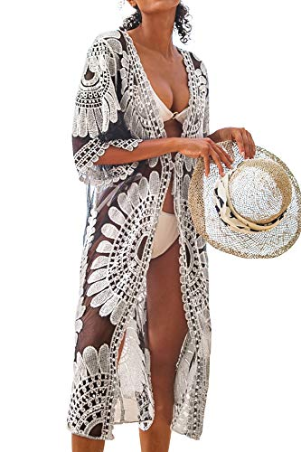 CUPSHE Women's Lace Sheer Cardigan Floral Crochet Bathing Suit Cover Up Black