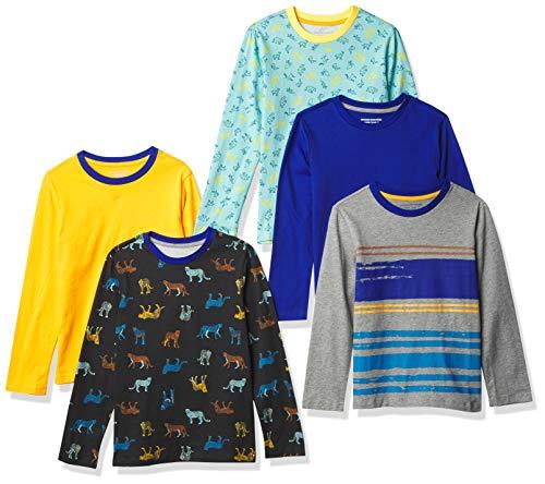 Amazon Essentials Long-Sleeve T-Shirts Fashion, Paquete de 5 Guepardo, 11-12 años, Pack de 5