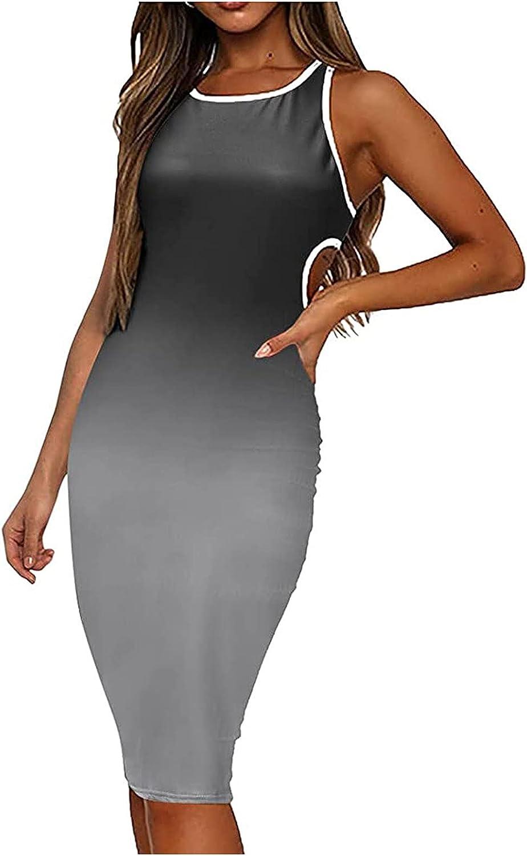 Meitianfacai Women Summer Casual Sleeveless Slimming O-Neck Gradient Print Backless Tank Dress Sexy Bodycon Wrap Midi Dress