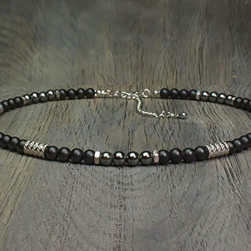 Taille 40-45cm Collier Homme perles Ø 6mm pierre gemme Agate Noir Hématite - anneaux hexagone Acier inoxydable Fait main Made in France COLLINIX18