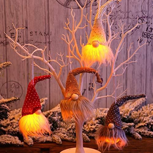 Catkoo Decoraciones De Fiesta De Año Nuevo De Navidad, Linda Muñeca De Gnomo Colgante De Iluminación LED Adorno...
