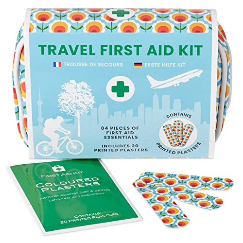 Yellodoor 84 PC Mini Travel Kit di Pronto Soccorso. Include forbici, GEL burn, cerotti impermeabili, guanti medici, salviette antisettiche,nastro adesivo 100% vegan Mini Travel Kit di Pronto Soccorso