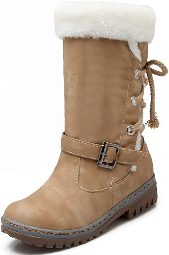 Vimisaoi Max 56% OFF Winter Warm At the price Suede Snow Boots for Round Women H Low Toe