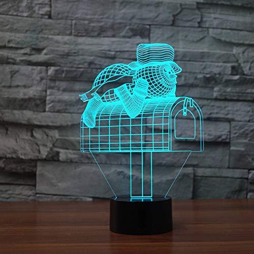 LLZGPZXYD woonkamerdecoratie, USB, 7 kleuren, kleurverandering, brievenbus, vormbox, 3D-led-tafellamp, 3D-tekening, animatie, sneeuwman, letters, nachtlampje Touch Switch