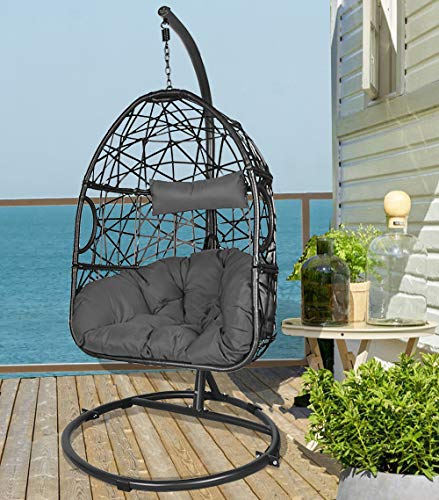 Action Club Wicker Egg Chair with Stand, Indoor/Outdoor Hanging Chair Dark Grey Cushions Swing Chair for Patio Bedroom Balcony