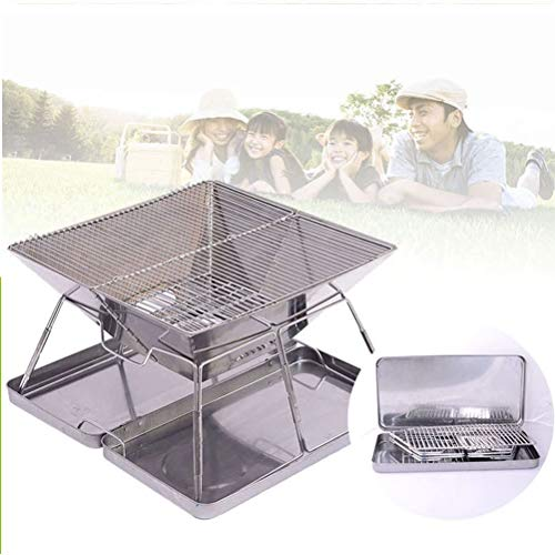 WWJJLL Portable Folding BBQ,Charcoal Grill Stainless Steel Grill for Outdoor Hiking Camping Grill Garden Party Picnic BBQ with Storage Bag