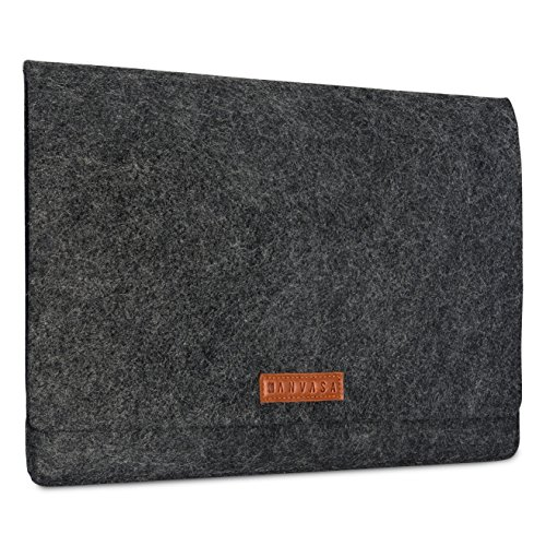 KANVASA Filz Laptop Sleeve 13 13,3 Zoll MacBook Air 13 (ab 2011) & Pro (ab 2012) Premium Hülle Laptophülle Filztasche anthrazit/braunem Leder -Notebook Tasche Ultrabook von Microsoft Acer HP Dell uvm.