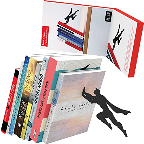 Unique Metal Decorative Bookends - Whimsical Hidden Book Ends for a Cool Book Holder Display - Cute Home Decor and Modern Gift Idea for Shelves Desk or Table (Superhero)