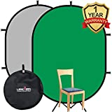 Fond d'écran de Fond de Chromakey écran Vert/Gris Youtube, Mousseline de Coton Portable Pop-up Pliable, Double Face, Rectangle Mat, Chroma, clé, Fond chromé, Repliable