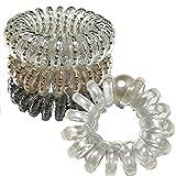 gomas de pelo Diadema en espiral de 4 piezas, Gomas Pelo Elástico, accesorios pelo mujer, adecuado para todo tipo de cabello, (4 colores)