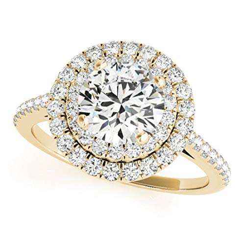 Diamond (Halo Style) Bridal Set Ring with 1.75 cttw of Natural Round Shape Diamonds available in 14K White, Yellow or Rose Gold. Free Designer Gift Box. Free Certificate.