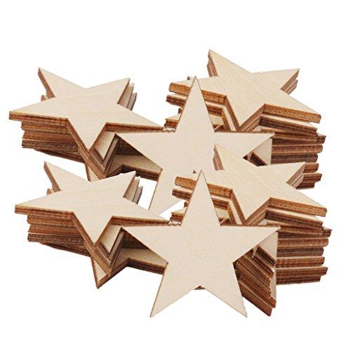 SDENSHI 50x Forma de Estrella de Madera Que Entrega Las Decoraciones Adornos Decorativos 50 Mm