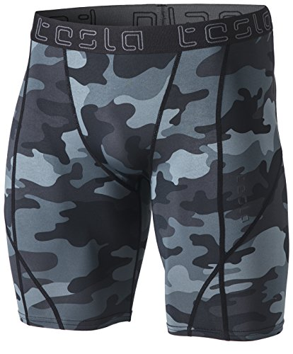 TSLA Men's Athletic Compression Shorts, Sports Performance Active Cool Dry Running Tights, Athletic Shorts Camo Dark Grey, Small