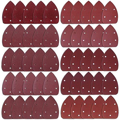 Austor 50 piezas raton detalle Sander lija lija de gancho y bucle de surtidos 40 / 60 / 80 / 100 / 120 / 180 / 240 / 320 / 400 / 800 grits