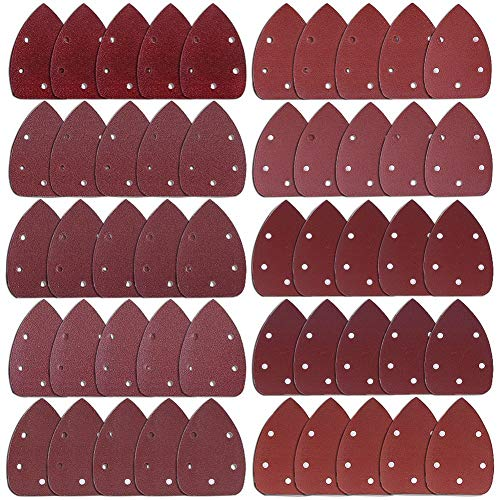 AUSTOR 50 Stücke Maus Detail Schleifpapier 5 Loch Klett-Schleifdreiecke je 5 x 40 / 60 / 80 / 100 / 120 / 180 / 240 / 320 / 400 / 800 Körnung Schleifblatt Für Dreieckschleifer