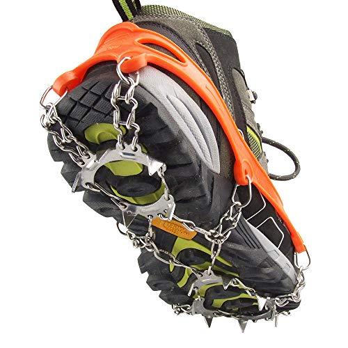 Crampones de acero inoxidable con 13 dientes de Wenx, cubrezapatos antideslizantes para escalada al aire libre, cadenas de nieve reforzadas