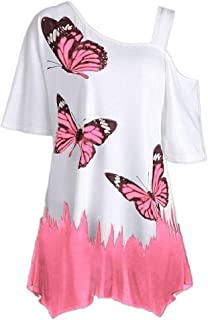 TINGZI Women Tees Large Size Butterfly Printing T-Shirt Short Sleeve Tops Blouse Slim Fit Comfy Off Shouder Tunic