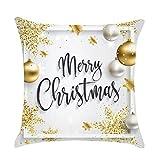 AMhomely - Juego de fundas de almohada de lino para decoración del hogar, 45 x 45 cm, decoración navideña, decoración navideña, decoración de fiestas, regalos para niños