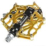 ROCKBROS Pédale Vélo Route 9/16 pour VTT BMX Paire Pédale Alliage Aluminium Plate-Forme Pédale Vélo Or