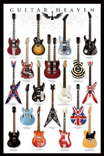 Poster Guitar Heaven - berühmte E-Gitarren aus der Rockgeschichte - Größe 61 x 91,5 cm - Maxiposter
