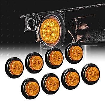 8pc 2  Amber Round Trailer LED Clearance Marker Lights [DOT FMVSS 108] [SAE P2] [Reflector Lens] [Grommet] [Flush-Mount] [Waterproof IP67] Marker Clearance Lights for Trailer Truck