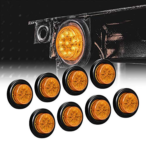 8pc 2' Amber Round Trailer LED Clearance Marker Lights [DOT...