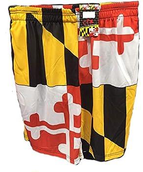CTX Hats Basketball Shorts - Maryland Flag Pattern  Small  Yellow