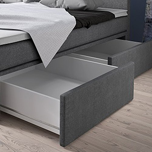 Boxspringbett 160×200 mit Bettkasten Grau Stoff Hotelbett Polsterbett Matratze Modell Roma (160 x 200) - 3