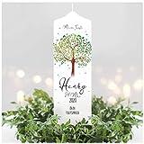 Wandtattoo Loft Taufkerze Junge oder Mädchen Lebensbaum Baum - Kerze zur Taufe, Geburt Kommunion weiß 25 x 7 cm mit Name, Datum, ggf. Taufspruch / / Taufkerze 25 x 7 cm (eigener Taufspruch)
