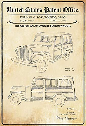 NWFS patent ontwerp voor een combi auto blikken bord metalen plaat plaat metaal tin teken gewelfd gelakt 20 x 30 cm