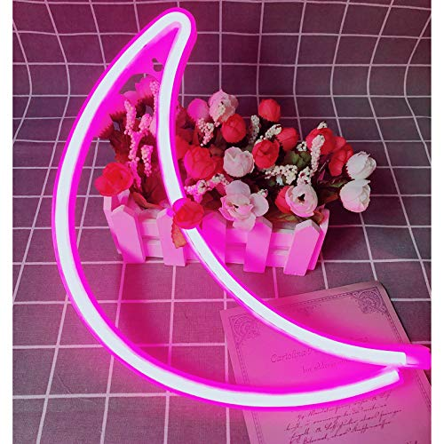 Neon Sign Moon Decorative LED Night Light Art Wall Decor for Kids Room Birthday Party Decor Powered by Battery/USB (Pink)