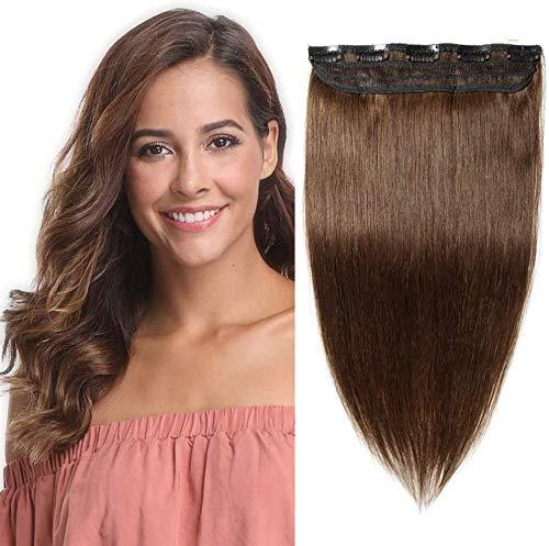 Silk-co Haarteile Echthaar Clip in Extensions Echthaar 1Pc 5Clips Haarverlängerung Weich Natürlich Human Hair Glatt Hair Extensions 40cm-45g 04# Mittelbraun