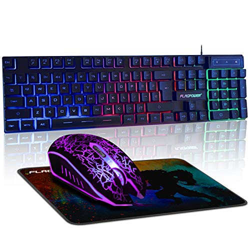 FLAGPOWER Gaming Keyboard and Mouse, Gaming Mouse Pad Combo, 3 Colors Changeable Backlit Mechanical Feeling Keyboard with 4 Colors Breathing LED Backlight Mouse for PC Laptop Computer Game and Work