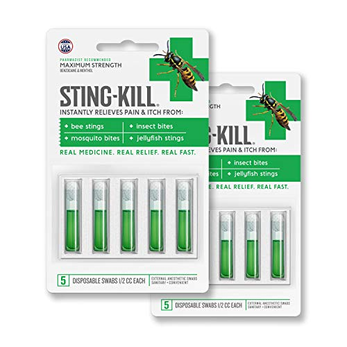 Sting-Kill First Aid Anesthetic Swabs, Instant Pain + Itch Relief From Bee Stings and Bug Bites, 5-count (pack of 2)