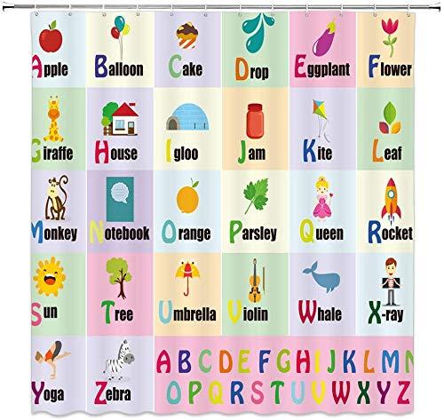 JOOCAR Design Duschvorhang, Alphabet für Kinder, ABC Lernwerkzeug für Jungen & Babys, großes Poster von A bis Z, wasserdichter Stoff, Badezimmerdekor-Set mit Haken