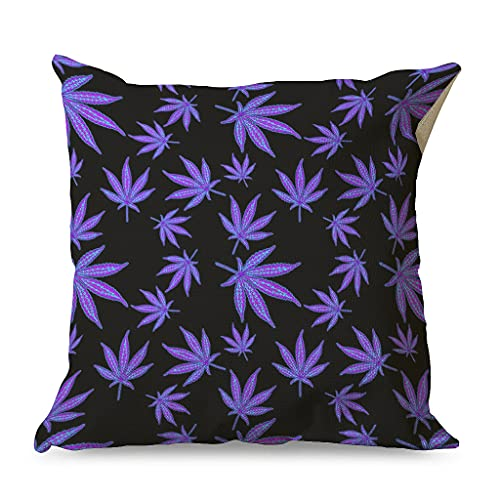 OwlOwlfan Fantasy Cannabis Pillowcase Soft Skin-friendly Comfortable Square Cushion Covers for Cafe Office white 45x45cm