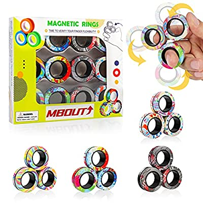 MBOUTrising 12Pcs Magnetic Ring Fidget Spinner Toys Set, Graffiti Camo Fingers Magnet Rings, ADHD Stress Relief Magical Toys for Training Relieves Autism Anxiety, Great Gift for Adults Teens Kids by MBOUTrising