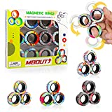 MBOUTrising 12Pcs Magnetic Ring Fidget Spinner Toys Set, Graffiti Camo Fingers Magnet Rings, ADHD Stress Relief Magical Toys for Training Relieves Autism Anxiety, Great Gift for Adults Teens Kids