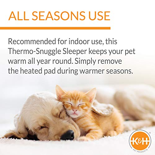 K&H Manufacturing Thermo Oval Snuggly Sleeper, Medium 26 By 20-Inch, 6-Watts, Sage