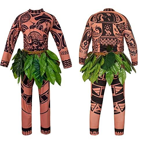 RICHBA Maui Tatuaje Cosplay Disfraz Adulto Niños Halloween Moana Maui Tatuaje Camiseta Pantalones Conjunto con Falda Hojas, Papá, L