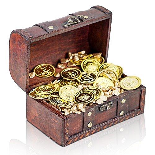 Brynnberg kleine schatkist 17 x 10 x 10 cm gouden munten gouden nuggets gevuld decoratie