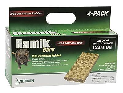 Neogen Ramik Fish Flavored Weather Resistant Rodenticide Bars, 4 x 16 oz Bars (4lb)