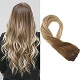 Moresoo Human Hair Extensions Clip in de Cabello Natural Remy Extensiones de Clip de Pelo...