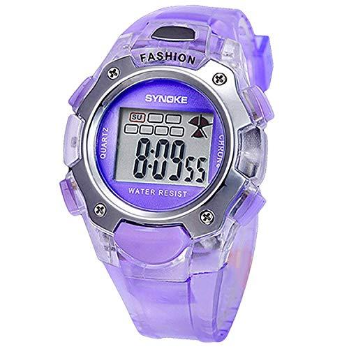 Fliyeong Relojes digitales unisex multifunción de la banda del PVC púrpura elegante y popular