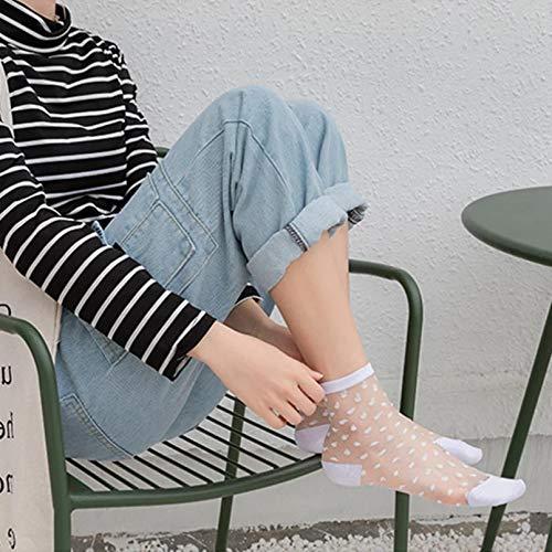KANGDE Calcetines Transparentes para niñas Calcetines Cortos con Estampado de Flores de Lunares Simples para Mujer Calcetines Cortos de Verano